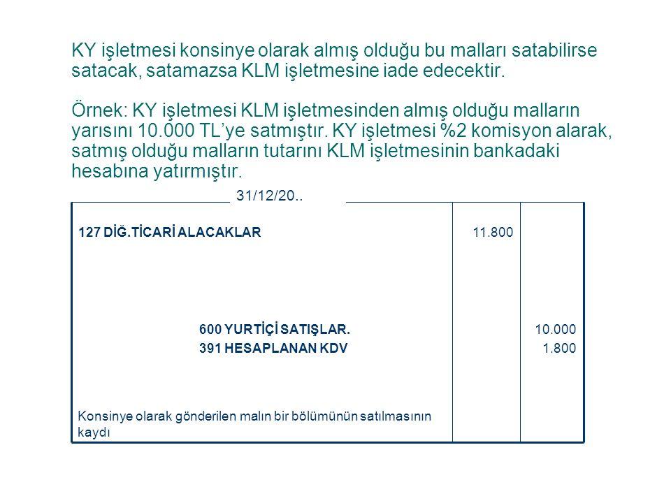 KY işletmesi konsinye olarak almış olduğu bu malları satabilirse satacak, satamazsa KLM işletmesine iade edecektir. Örnek: KY işletmesi KLM işletmesin