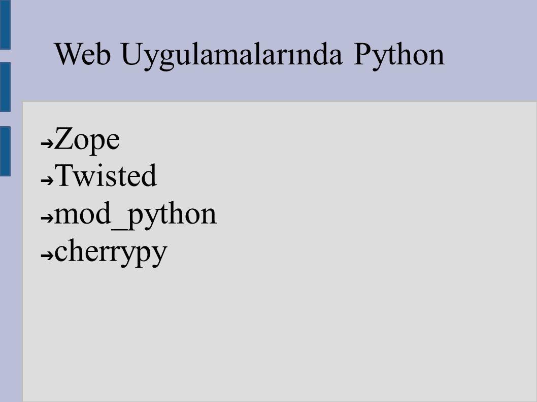 Web Uygulamalarında Python ➔ Zope ➔ Twisted ➔ mod_python ➔ cherrypy