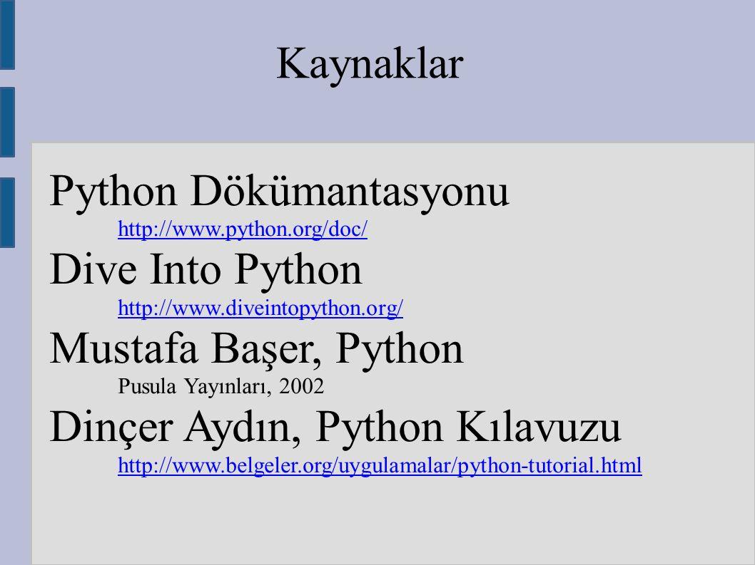 Kaynaklar Python Dökümantasyonu http://www.python.org/doc/ Dive Into Python http://www.diveintopython.org/ Mustafa Başer, Python Pusula Yayınları, 200