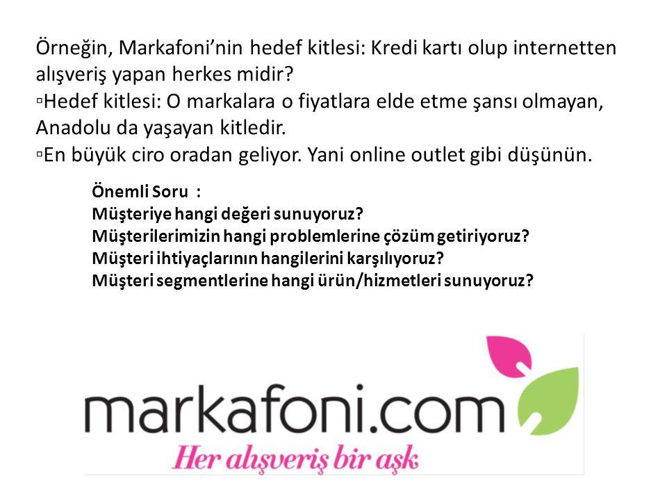 Örneğin, Markafoni'nin hedef kitlesi: Kredi kartı olup internetten alışveriş yapan herkes midir? ▫Hedef kitlesi: O markalara o fiyatlara elde etme şan