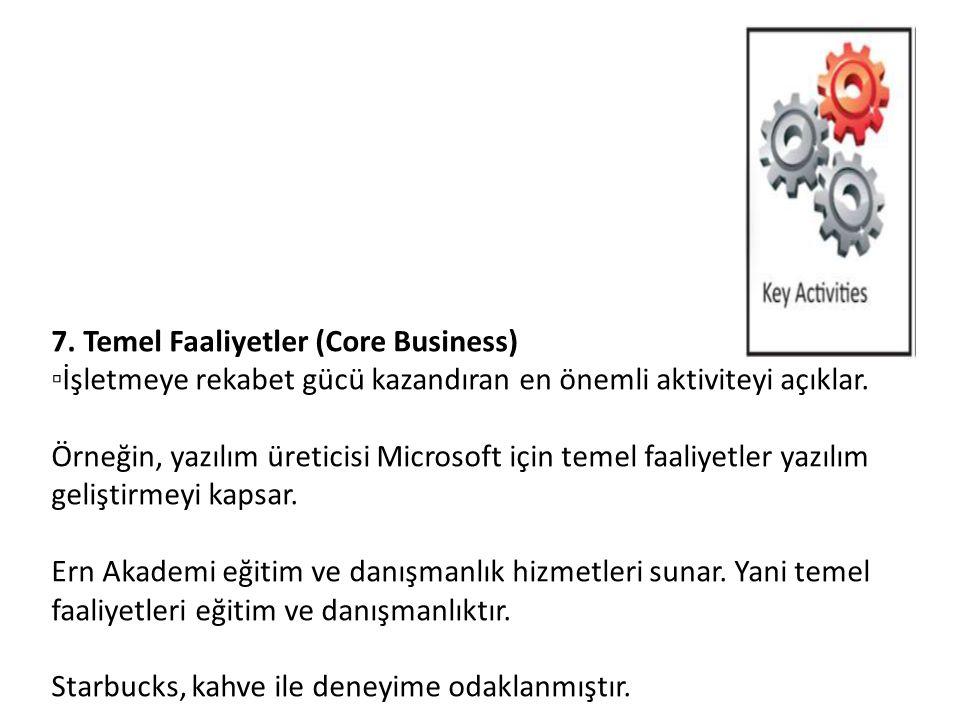 7. Temel Faaliyetler (Core Business) ▫İşletmeye rekabet gücü kazandıran en önemli aktiviteyi açıklar. Örneğin, yazılım üreticisi Microsoft için temel