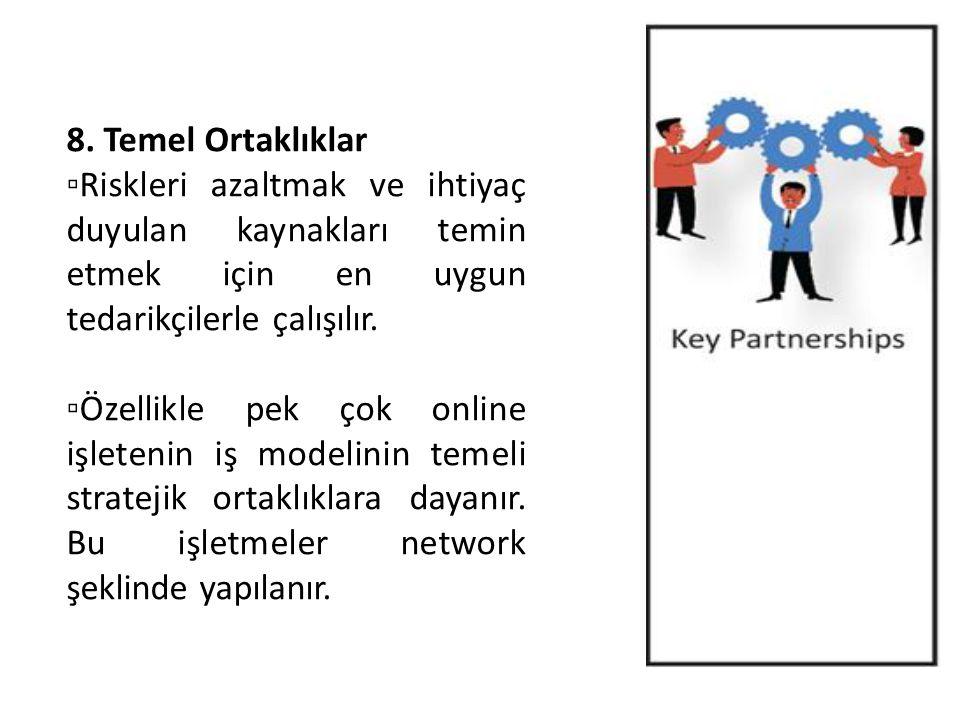 8. Temel Ortaklıklar ▫Riskleri azaltmak ve ihtiyaç duyulan kaynakları temin etmek için en uygun tedarikçilerle çalışılır. ▫Özellikle pek çok online iş