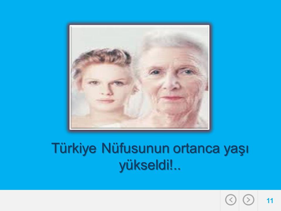 11 Türkiye Nüfusunun ortanca yaşı yükseldi!..