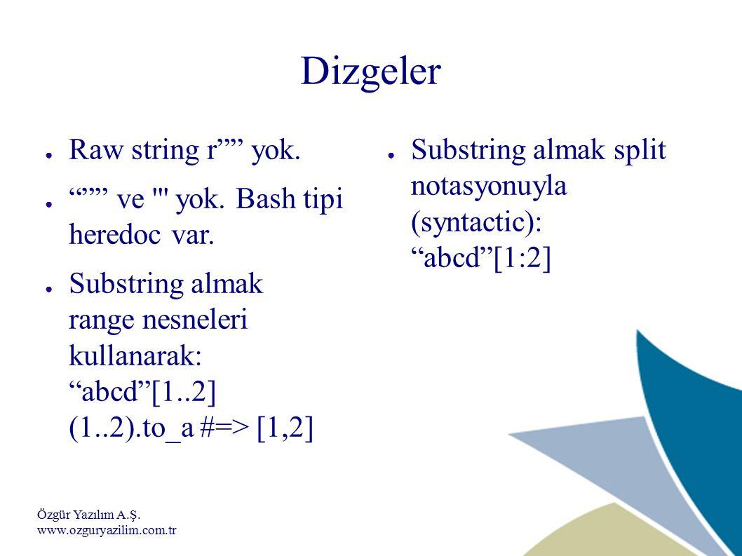 Özgür Yazılım A.Ş. www.ozguryazilim.com.tr Dizgeler ● Raw string r yok.