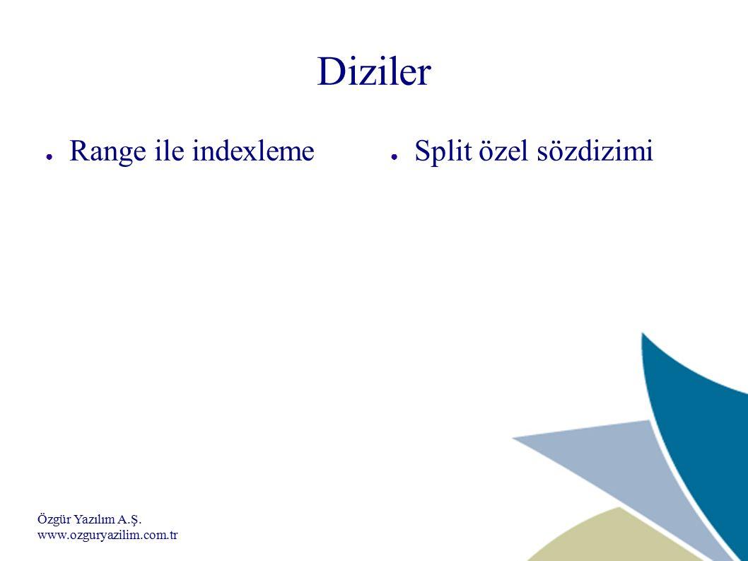 Özgür Yazılım A.Ş. www.ozguryazilim.com.tr Diziler ● Range ile indexleme ● Split özel sözdizimi