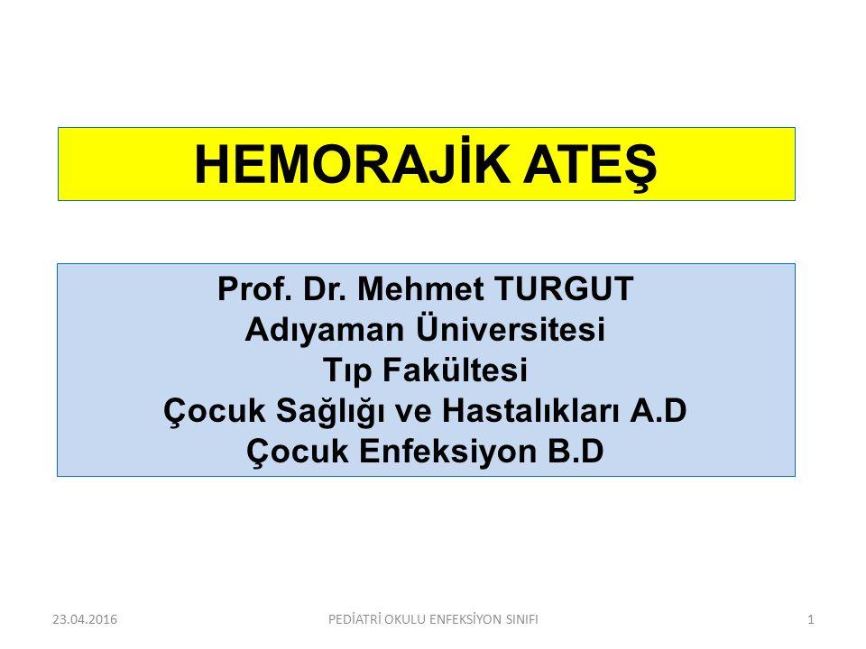 HEMORAJİK ATEŞ Prof. Dr. Mehmet TURGUT Adıyaman Üniversitesi Tıp Fakültesi Çocuk Sağlığı ve Hastalıkları A.D Çocuk Enfeksiyon B.D 23.04.20161PEDİATRİ