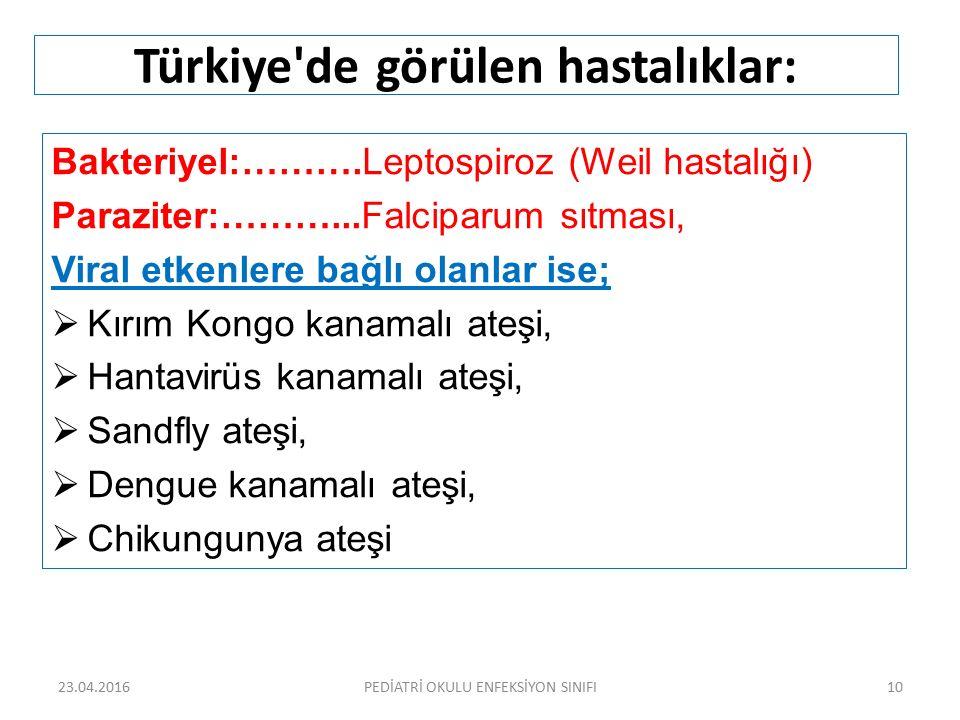 Türkiye'de görülen hastalıklar: Bakteriyel:……….Leptospiroz (Weil hastalığı) Paraziter:………...Falciparum sıtması, Viral etkenlere bağlı olanlar ise;  K