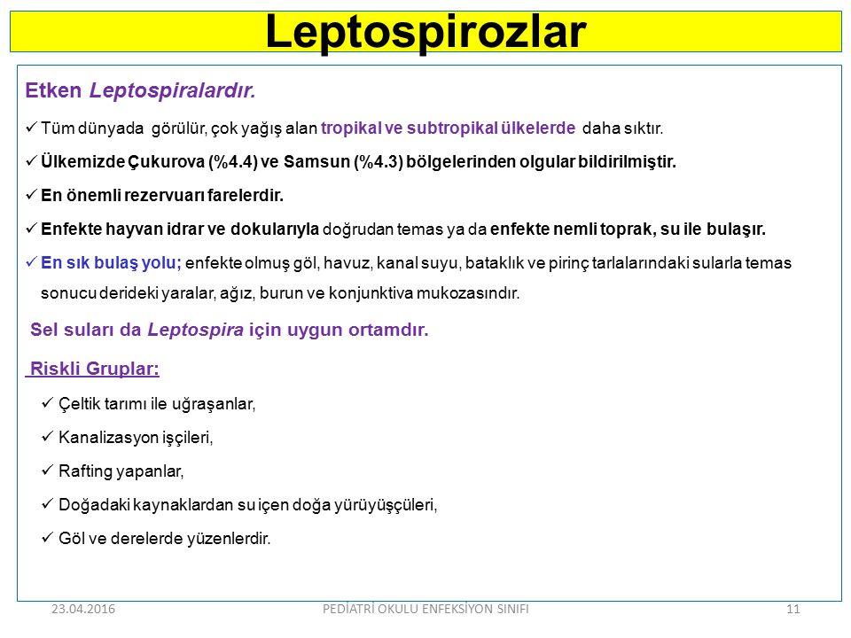 Leptospirozlar Etken Leptospiralardır. Tüm dünyada görülür, çok yağış alan tropikal ve subtropikal ülkelerde daha sıktır. Ülkemizde Çukurova (%4.4) ve