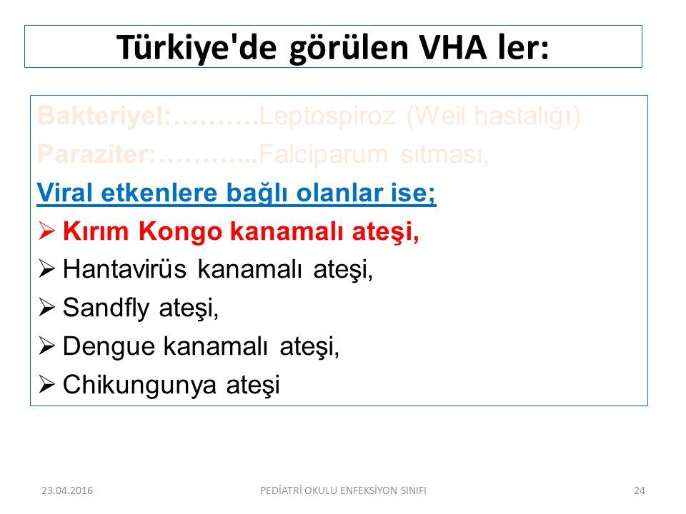 Türkiye'de görülen VHA ler: Bakteriyel:……….Leptospiroz (Weil hastalığı) Paraziter:………...Falciparum sıtması, Viral etkenlere bağlı olanlar ise;  Kırım