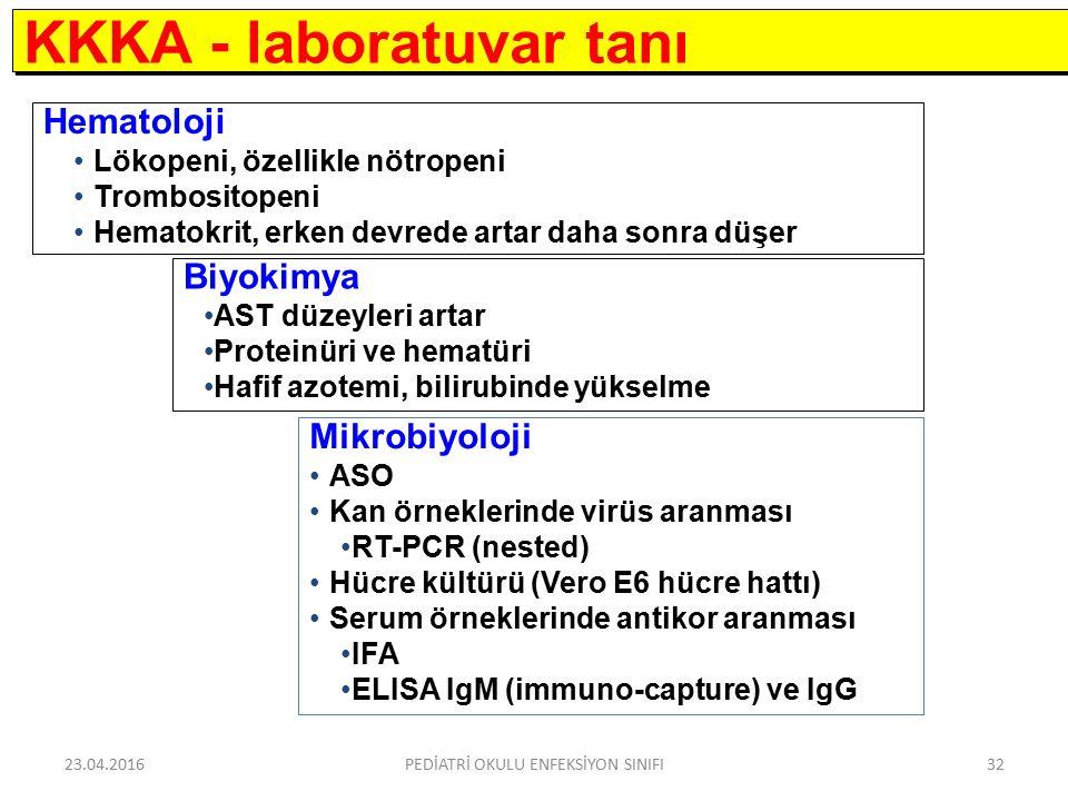 Hematoloji Lökopeni, özellikle nötropeni Trombositopeni Hematokrit, erken devrede artar daha sonra düşer KKKA - laboratuvar tanı Biyokimya AST düzeyleri artar Proteinüri ve hematüri Hafif azotemi, bilirubinde yükselme Mikrobiyoloji ASO Kan örneklerinde virüs aranması RT-PCR (nested) Hücre kültürü (Vero E6 hücre hattı) Serum örneklerinde antikor aranması IFA ELISA IgM (immuno-capture) ve IgG 23.04.2016PEDİATRİ OKULU ENFEKSİYON SINIFI32