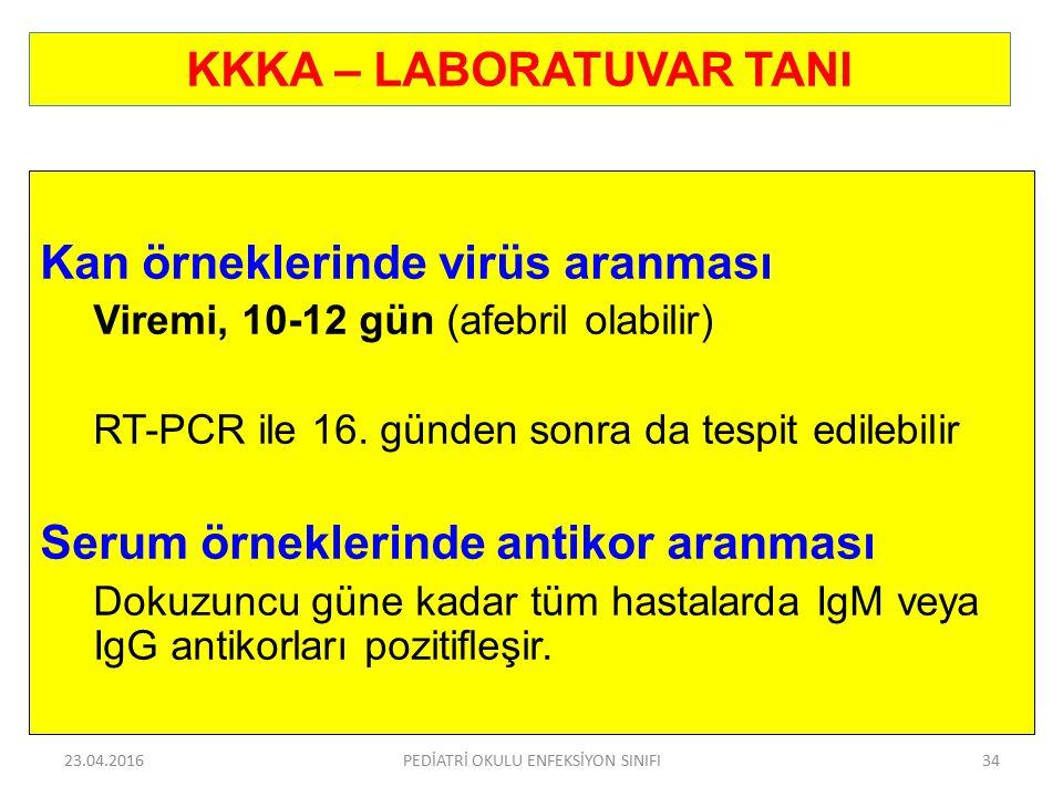 KKKA – LABORATUVAR TANI Kan örneklerinde virüs aranması Viremi, 10-12 gün (afebril olabilir) RT-PCR ile 16. günden sonra da tespit edilebilir Serum ör