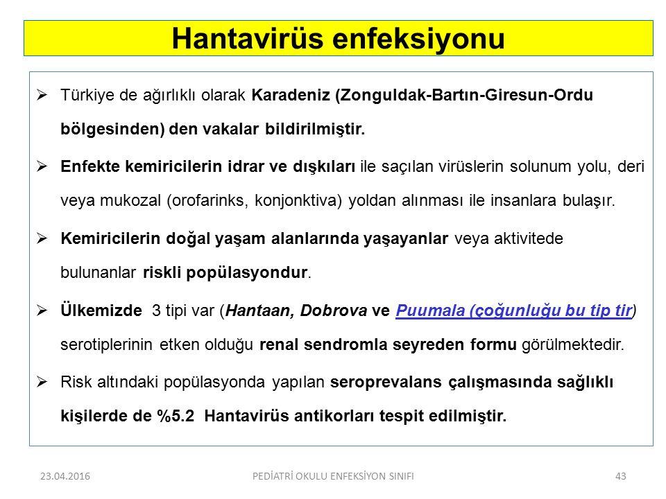 Türkiye de ağırlıklı olarak Karadeniz (Zonguldak-Bartın-Giresun-Ordu bölgesinden) den vakalar bildirilmiştir.  Enfekte kemiricilerin idrar ve dışkı