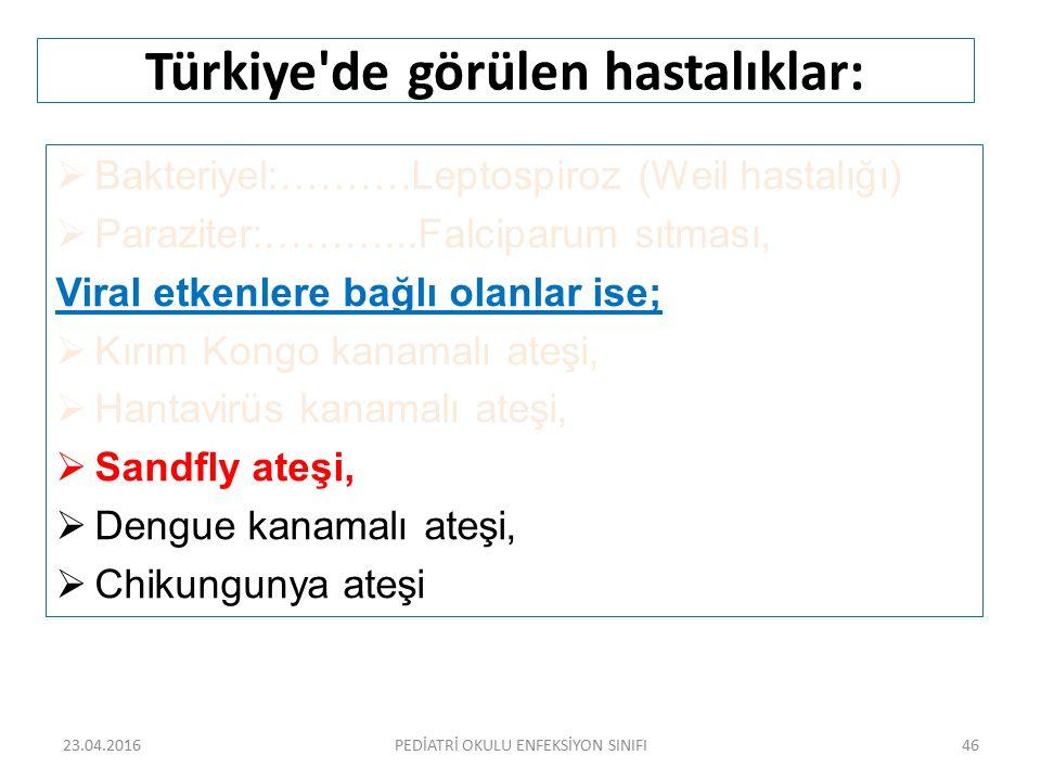Türkiye'de görülen hastalıklar:  Bakteriyel:……….Leptospiroz (Weil hastalığı)  Paraziter:………...Falciparum sıtması, Viral etkenlere bağlı olanlar ise;