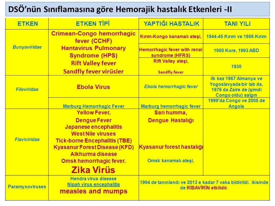 23.04.2016PEDİATRİ OKULU ENFEKSİYON SINIFI5 ETKENETKEN TİPİ YAPTIĞI HASTALIK TANI YILI Bunyaviridae Crimean-Congo hemorrhagic fever (CCHF) Hantavirus Pulmonary Syndrome (HPS) Rift Valley fever Sandfly fever virüsler Kırım-Kongo kanamalı ateşi,1944-45 Kırım ve 1956 Kırım Hemorrhagic fever with renal syndrome (HFRS) 1950 Kore, 1993 ABD Rift Valley ateşi, Sandfly fever 1930 Filoviridae Ebola Virus Ebola hemorrhagic fever ilk kez 1967 Almanya ve Yogoslavyada bir lab da, 1976 da Zaire de (şimdi Congo oldu) salgın Marburg Hemorrhagic FeverMarburg hemorrhagic fever 1999 da Congo ve 2005 de Angola Flaviviridae Yellow Fever,Sarı humma, Dengue FeverDengue Hastalığı Japanese encephalitis West Nile viruses Tick-borne Encephalitis (TBE) Kyasanur Forest Disease (KFD) Kyasanur forest hastalığı Alkhurma disease Omsk hemorrhagic fever.