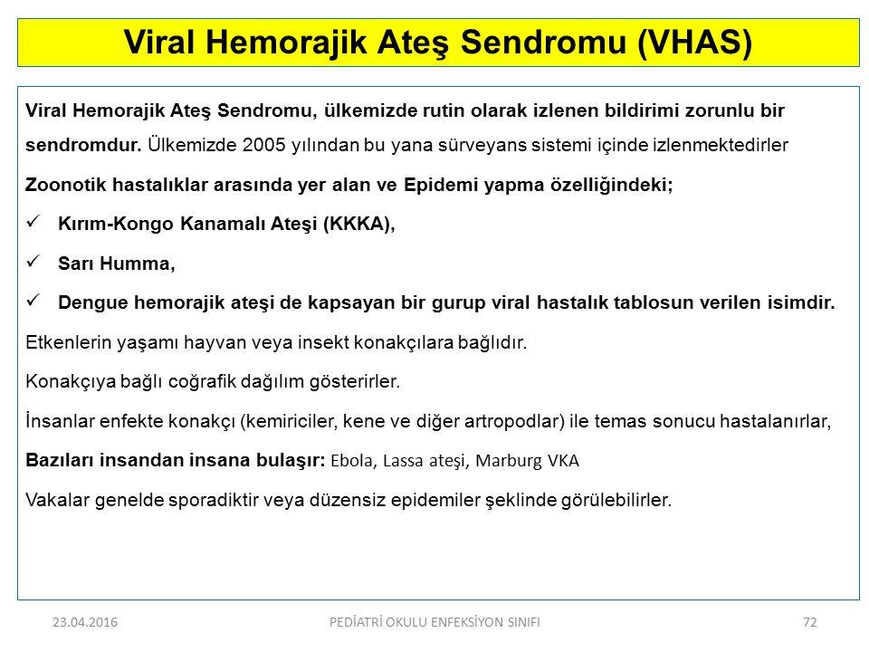 Viral Hemorajik Ateş Sendromu (VHAS) Viral Hemorajik Ateş Sendromu, ülkemizde rutin olarak izlenen bildirimi zorunlu bir sendromdur. Ülkemizde 2005 yı