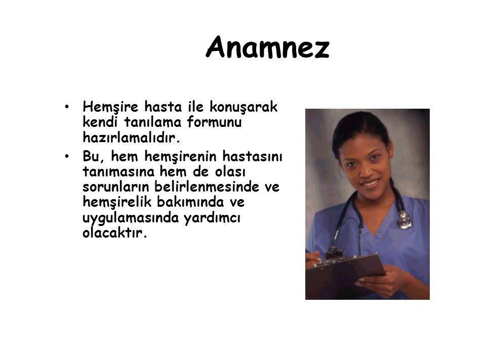 Anamnez Hemşire hasta ile konuşarak kendi tanılama formunu hazırlamalıdır. Bu, hem hemşirenin hastasını tanımasına hem de olası sorunların belirlenmes