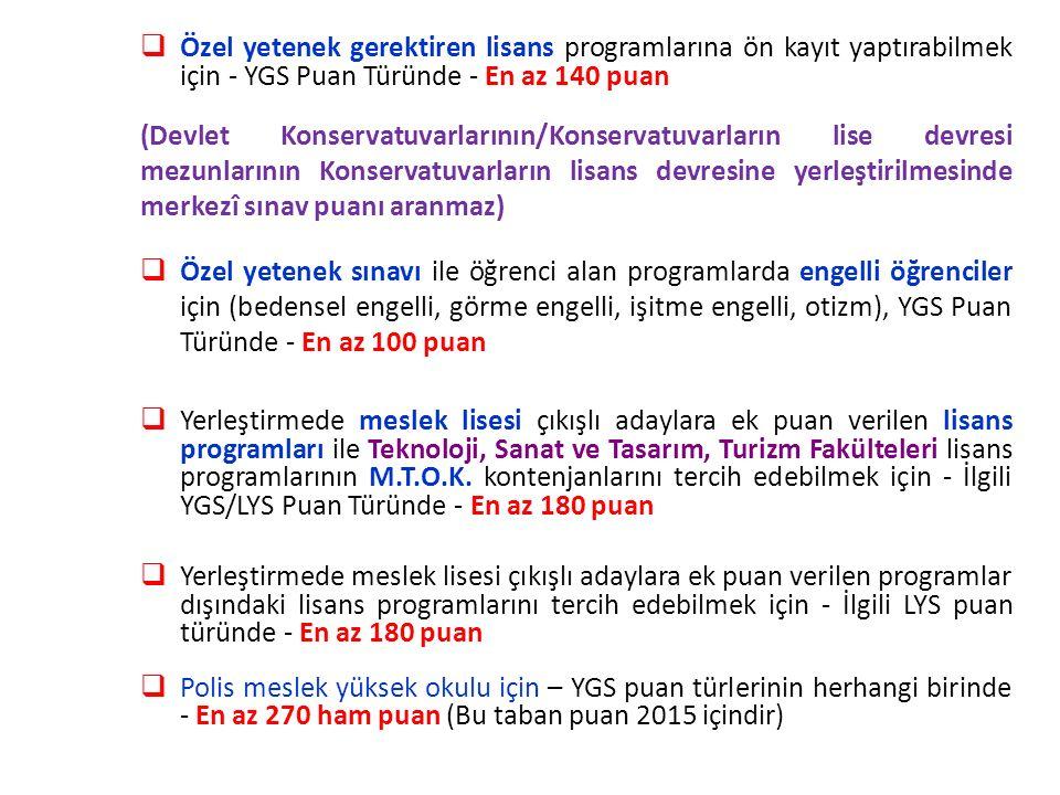  Özel yetenek gerektiren lisans programlarına ön kayıt yaptırabilmek için - YGS Puan Türünde - En az 140 puan (Devlet Konservatuvarlarının/Konservatu