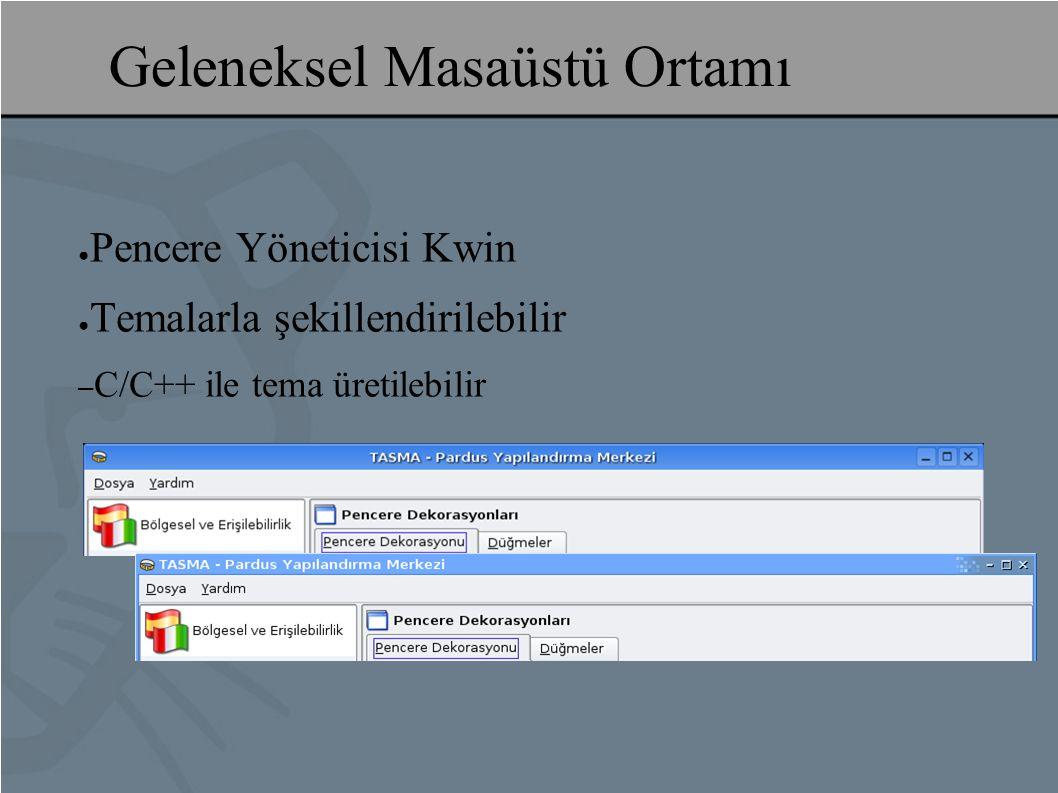 ● Pencere Yöneticisi Kwin ● Temalarla şekillendirilebilir – C/C++ ile tema üretilebilir Geleneksel Masaüstü Ortamı