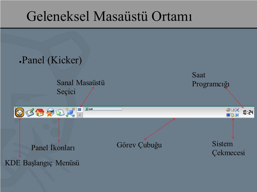 Geleneksel Masaüstü Ortamı ● Panel (Kicker) KDE Başlangıç Menüsü Panel İkonları Görev Çubuğu Sistem Çekmecesi Saat Programcığı Sanal Masaüstü Seçici
