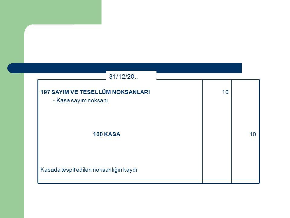 Kasada tespit edilen noksanlığın kaydı 10100 KASA 10197 SAYIM VE TESELLÜM NOKSANLARI - Kasa sayım noksanı 31/12/20..