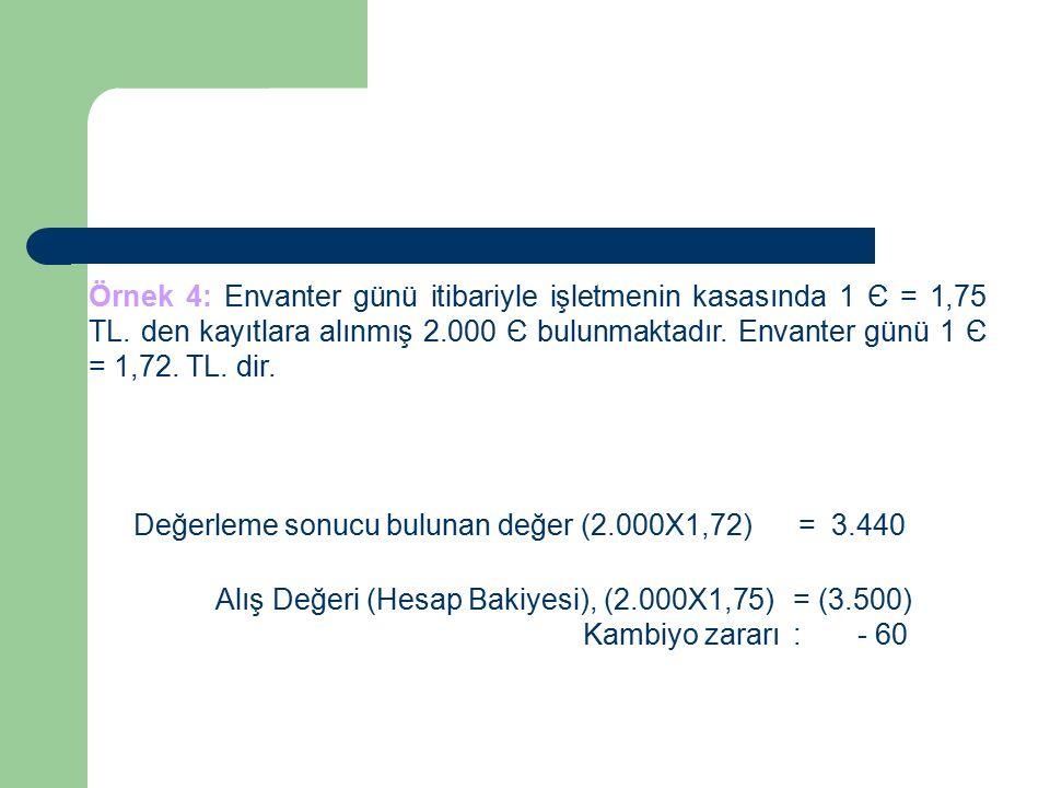 Örnek 4: Envanter günü itibariyle işletmenin kasasında 1 Є = 1,75 TL.
