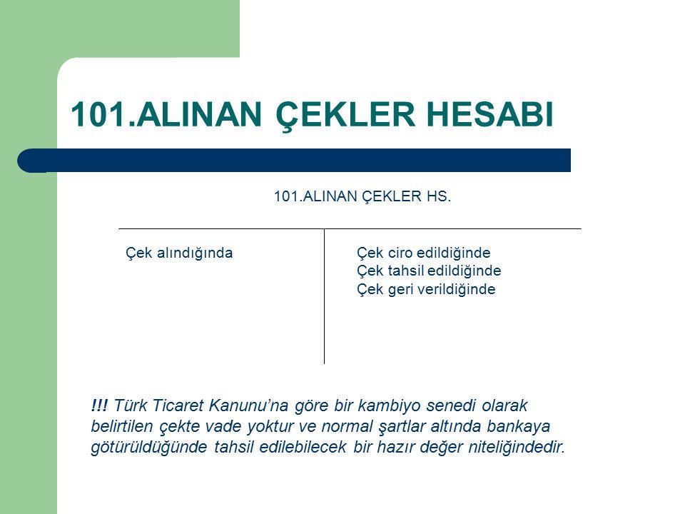 101.ALINAN ÇEKLER HESABI 101.ALINAN ÇEKLER HS.