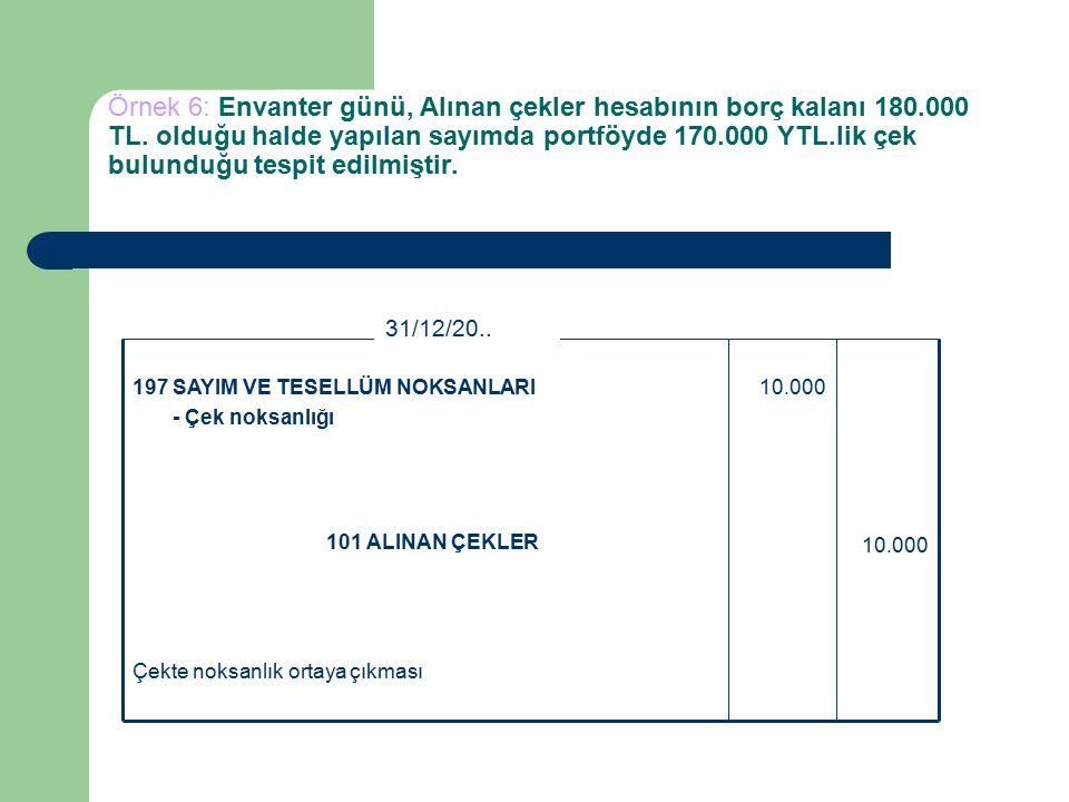 Örnek 6: Envanter günü, Alınan çekler hesabının borç kalanı 180.000 TL.