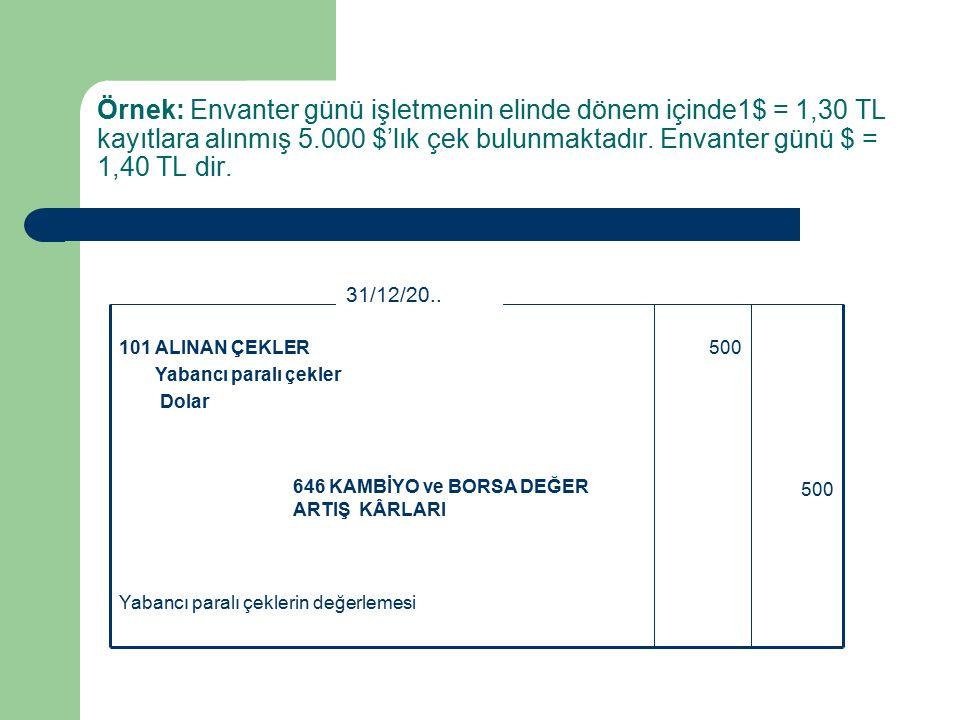Örnek: Envanter günü işletmenin elinde dönem içinde1$ = 1,30 TL kayıtlara alınmış 5.000 $'lık çek bulunmaktadır.