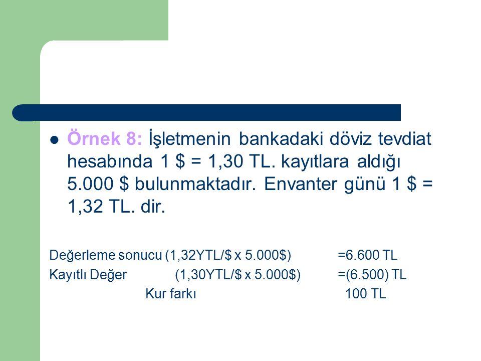 Örnek 8: İşletmenin bankadaki döviz tevdiat hesabında 1 $ = 1,30 TL.