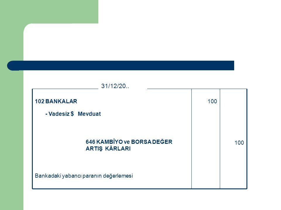 Bankadaki yabancı paranın değerlemesi 100 646 KAMBİYO ve BORSA DEĞER ARTIŞ KÂRLARI 100102 BANKALAR - Vadesiz $ Mevduat 31/12/20..