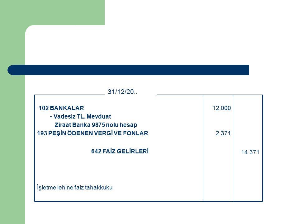 İşletme lehine faiz tahakkuku 14.371 642 FAİZ GELİRLERİ 12.000 2.371 102 BANKALAR - Vadesiz TL.
