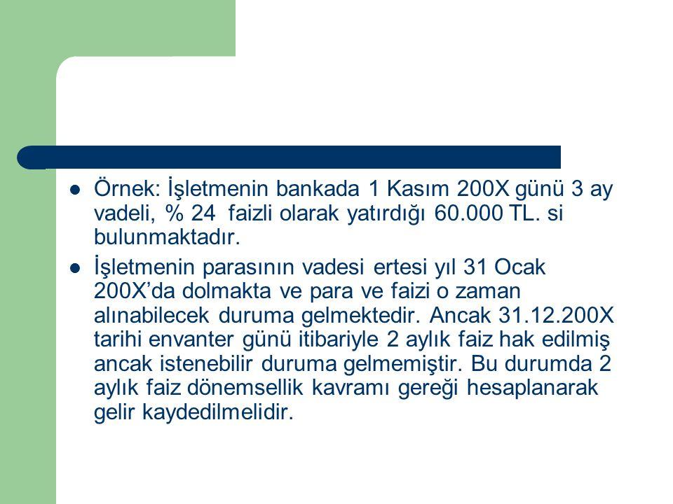 Örnek: İşletmenin bankada 1 Kasım 200X günü 3 ay vadeli, % 24 faizli olarak yatırdığı 60.000 TL.