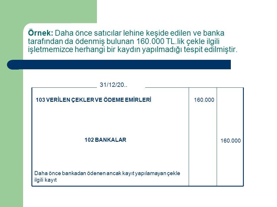 Örnek: Daha önce satıcılar lehine keşide edilen ve banka tarafından da ödenmiş bulunan 160.000 TL.lik çekle ilgili işletmemizce herhangi bir kaydın yapılmadığı tespit edilmiştir.
