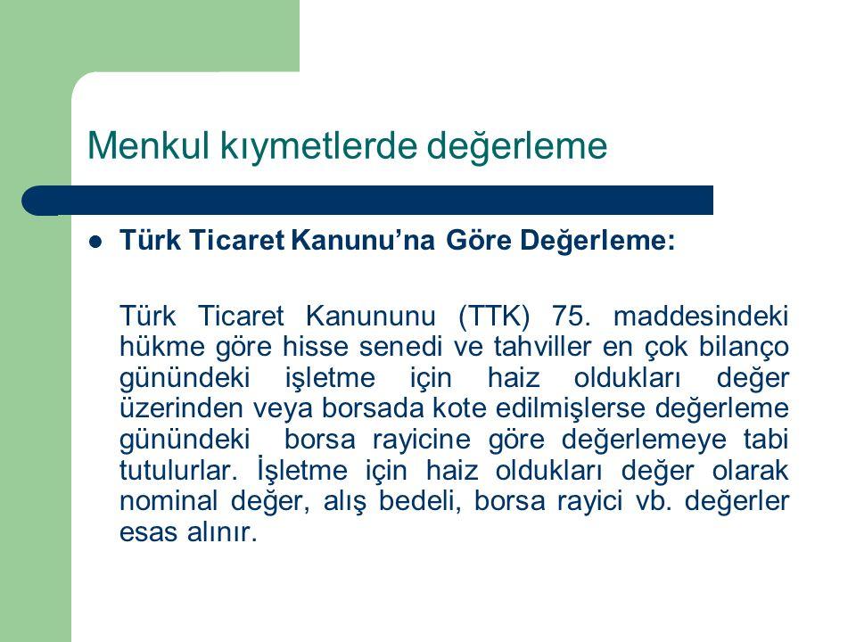 Menkul kıymetlerde değerleme Türk Ticaret Kanunu'na Göre Değerleme: Türk Ticaret Kanununu (TTK) 75.