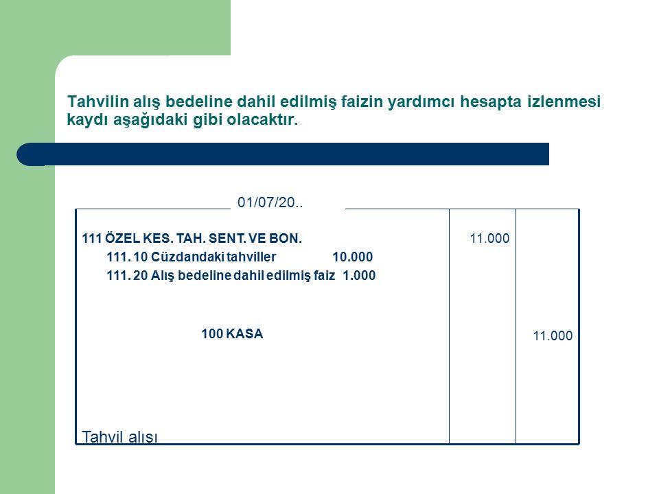 Tahvil alışı 11.000 100 KASA 11.000111 ÖZEL KES. TAH.