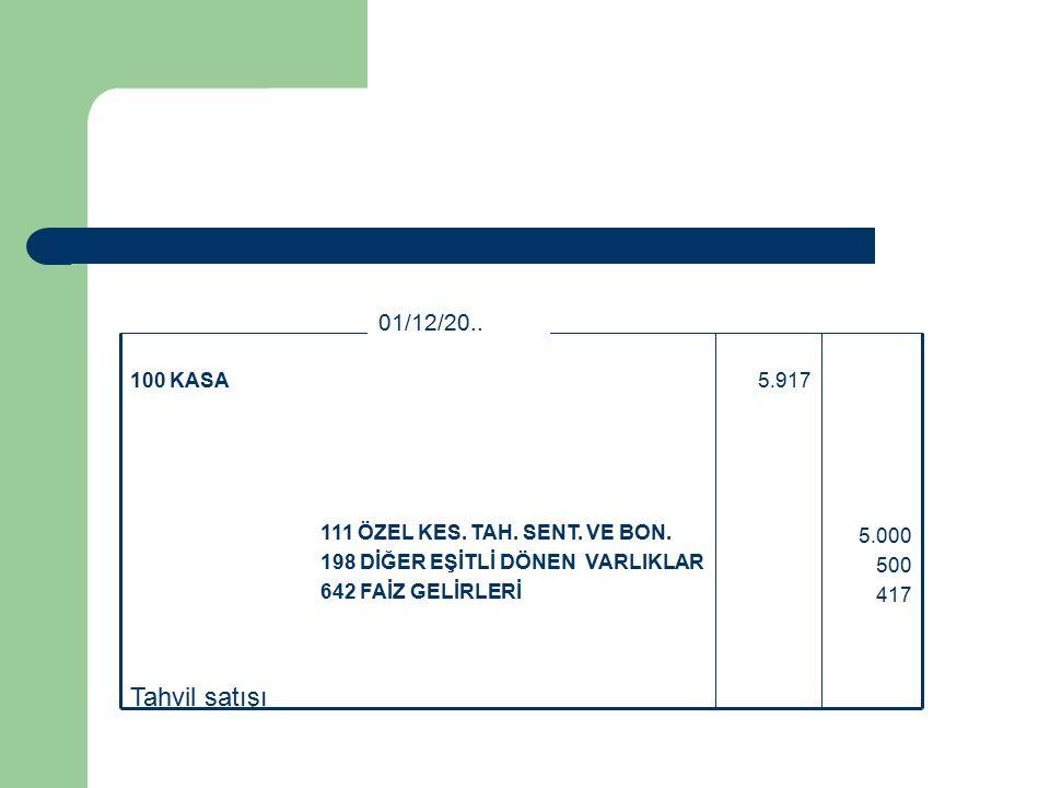 Tahvil satışı 5.000 500 417 111 ÖZEL KES. TAH. SENT.