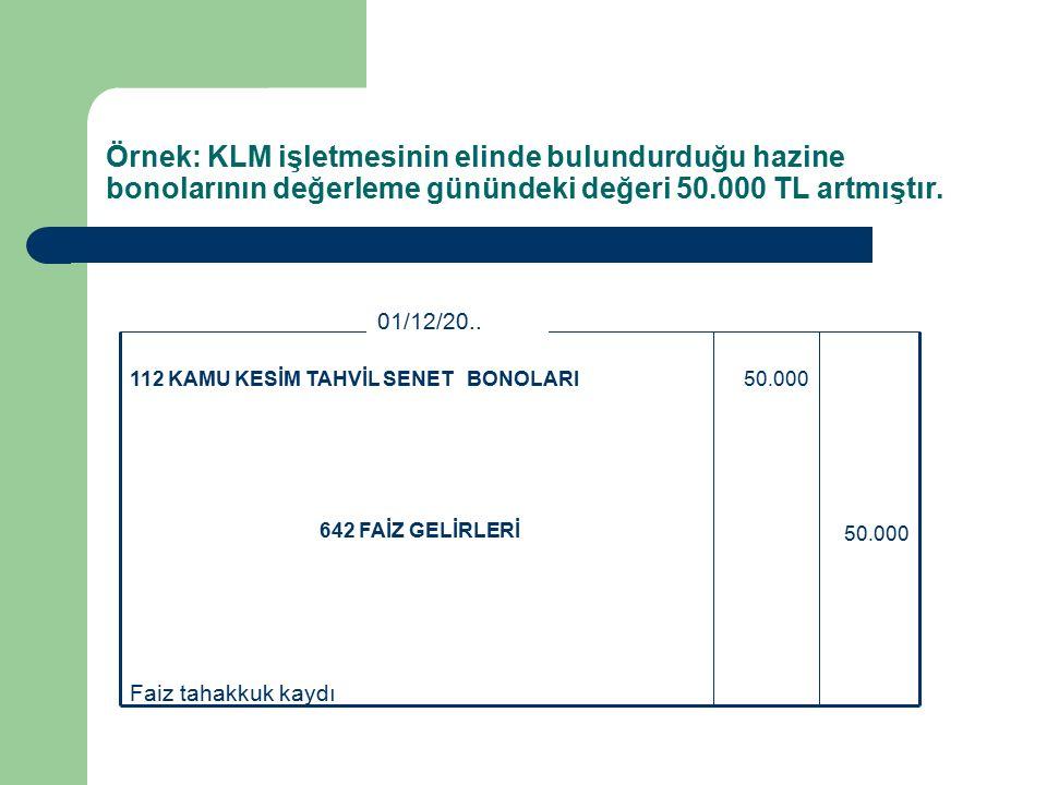 Örnek: KLM işletmesinin elinde bulundurduğu hazine bonolarının değerleme günündeki değeri 50.000 TL artmıştır.
