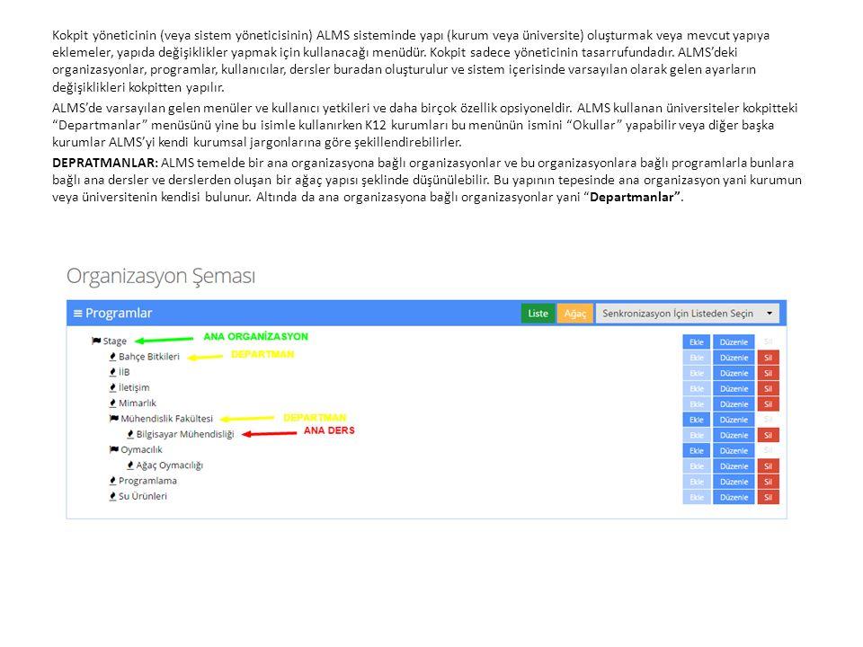 Ana organizasyona bağlı departmanlar oluşturmak için organizasyonun sağ tarafındaki Ekle butonuna basılır.