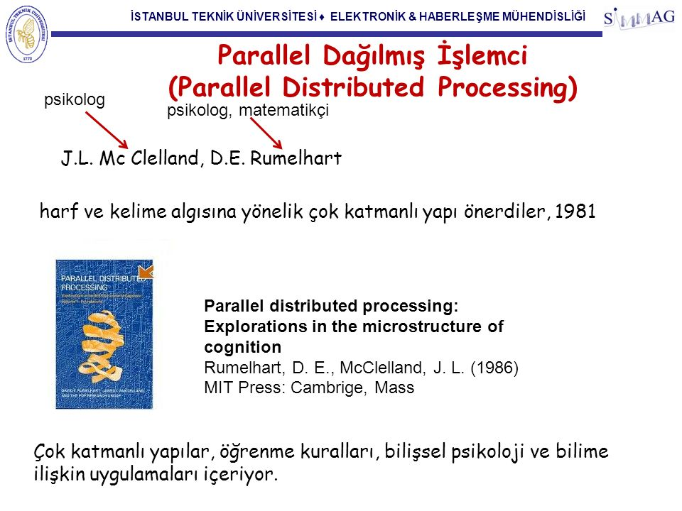 İSTANBUL TEKNİK ÜNİVERSİTESİ ♦ ELEKTRONİK & HABERLEŞME MÜHENDİSLİĞİ Parallel Dağılmış İşlemci (Parallel Distributed Processing) Geriye yayılım Learning representations by back-propagating errors David E.