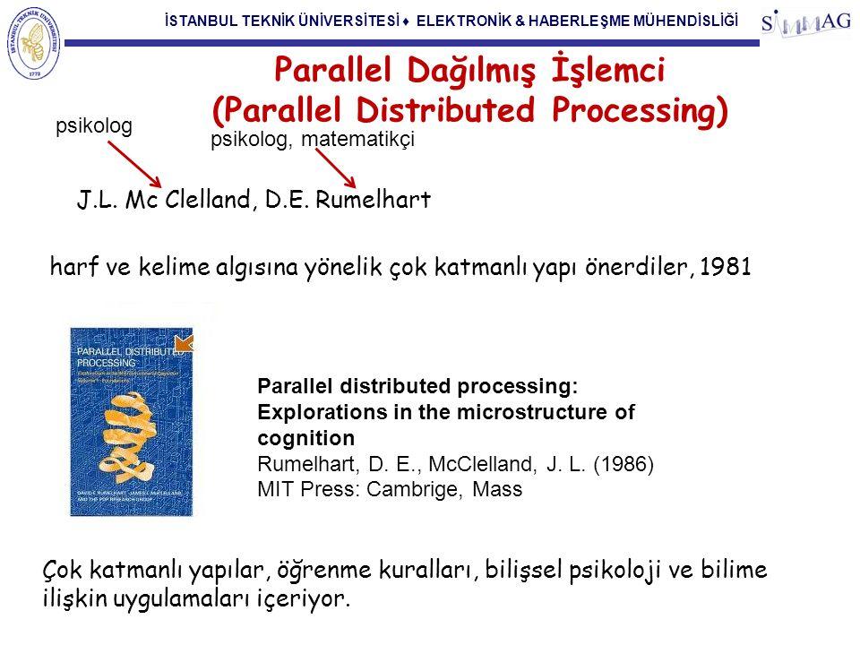 İSTANBUL TEKNİK ÜNİVERSİTESİ ♦ ELEKTRONİK & HABERLEŞME MÜHENDİSLİĞİ Parallel Dağılmış İşlemci (Parallel Distributed Processing) J.L. Mc Clelland, D.E.