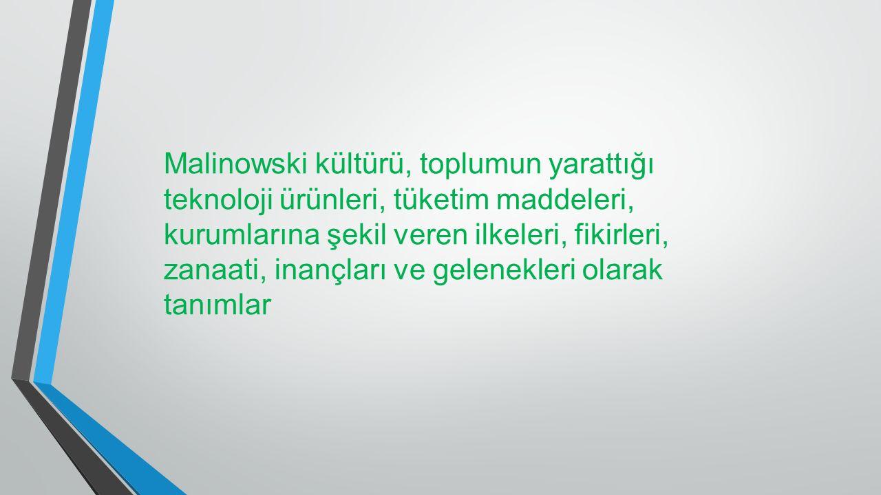 Malinowski kültürü, toplumun yarattığı teknoloji ürünleri, tüketim maddeleri, kurumlarına şekil veren ilkeleri, fikirleri, zanaati, inançları ve gelen