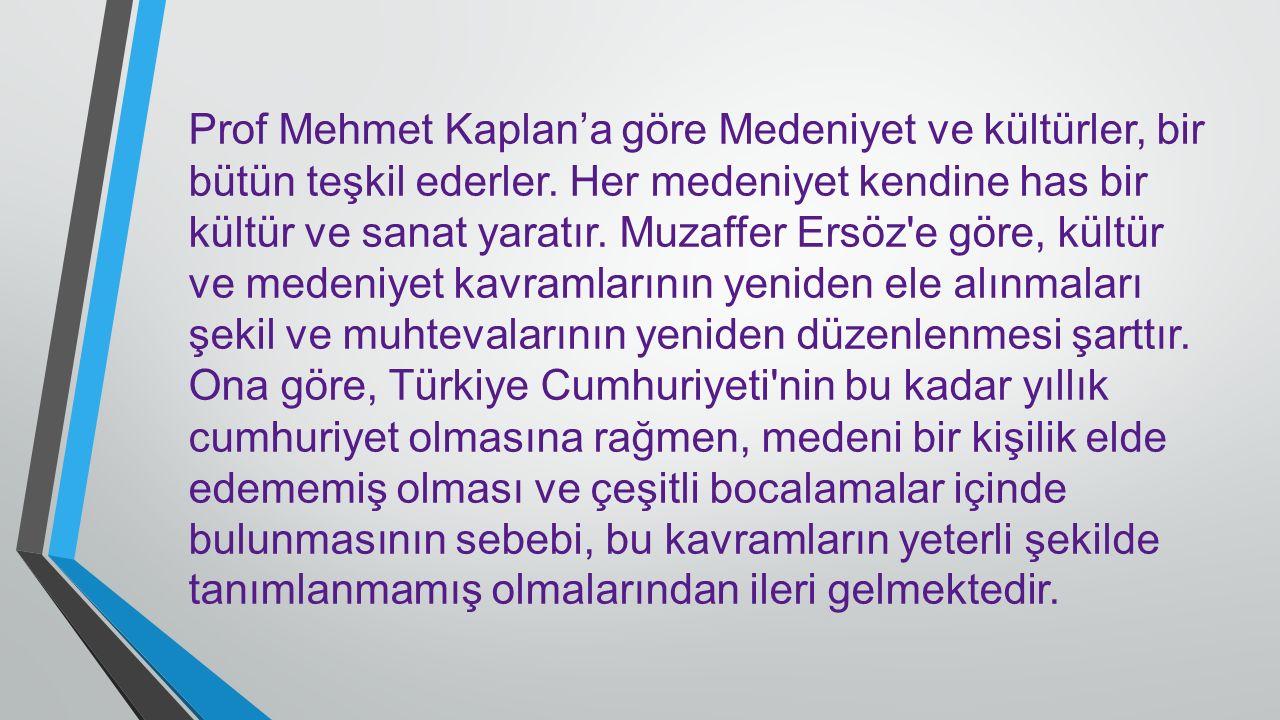 Prof Mehmet Kaplan'a göre Medeniyet ve kültürler, bir bütün teşkil ederler. Her medeniyet kendine has bir kültür ve sanat yaratır. Muzaffer Ersöz'e gö