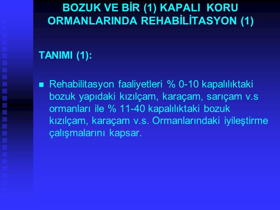 BOZUK VE BİR (1) KAPALI KORU ORMANLARINDA REHABİLİTASYON (1) TANIMI (1): Rehabilitasyon faaliyetleri % 0-10 kapalılıktaki bozuk yapıdaki kızılçam, kar