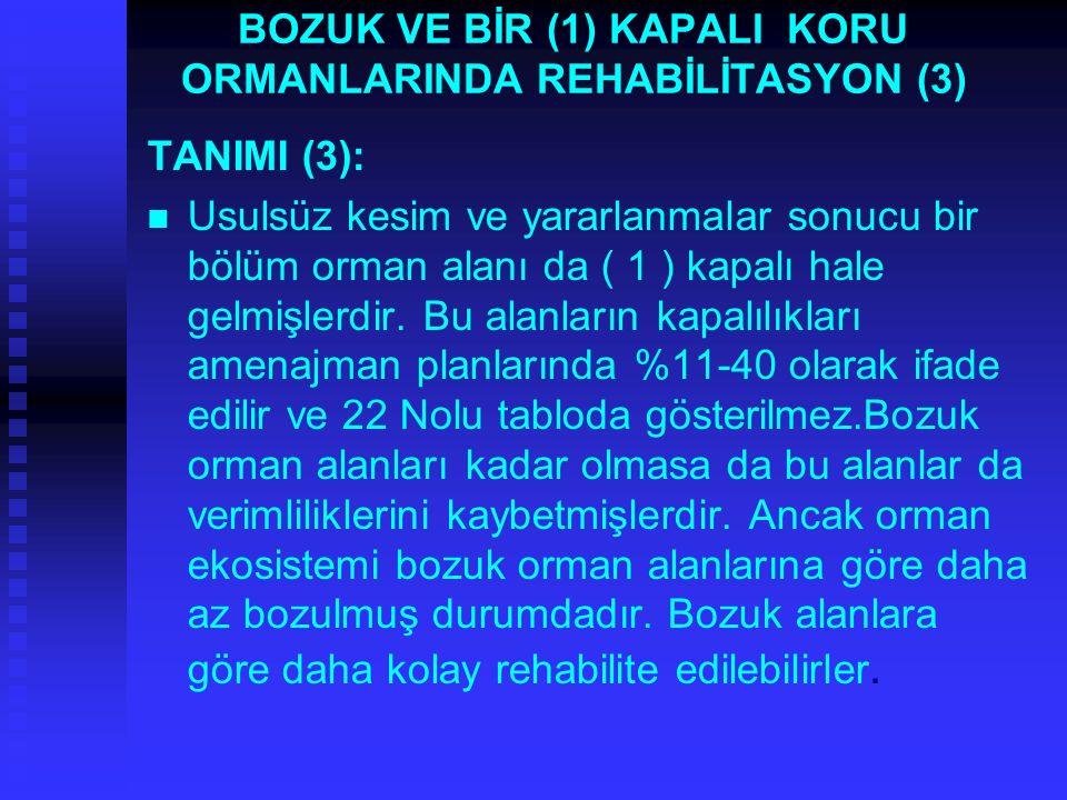 BOZUK VE BİR (1) KAPALI KORU ORMANLARINDA REHABİLİTASYON (3) TANIMI (3): Usulsüz kesim ve yararlanmalar sonucu bir bölüm orman alanı da ( 1 ) kapalı hale gelmişlerdir.