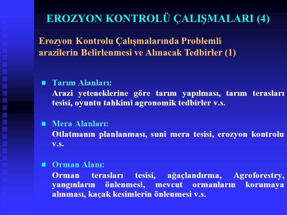 EROZYON KONTROLÜ ÇALIŞMALARI (4) Tarım Alanları: Arazi yeteneklerine göre tarım yapılması, tarım terasları tesisi, oyuntu tahkimi agronomik tedbirler v.s.