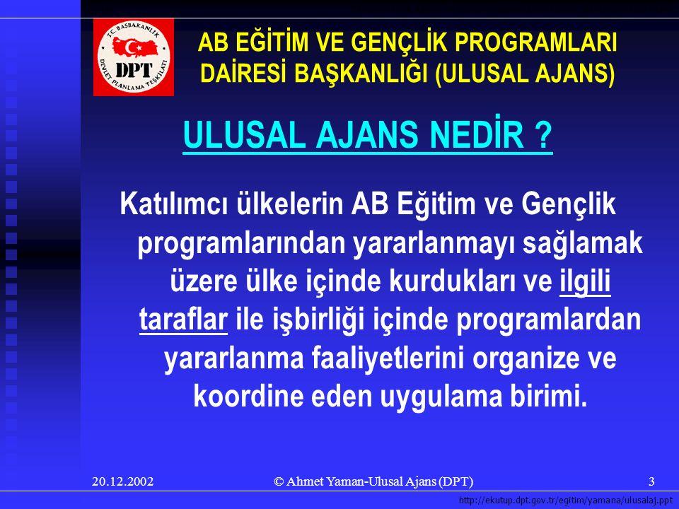 20.12.2002© Ahmet Yaman-Ulusal Ajans (DPT)3 ULUSAL AJANS NEDİR .