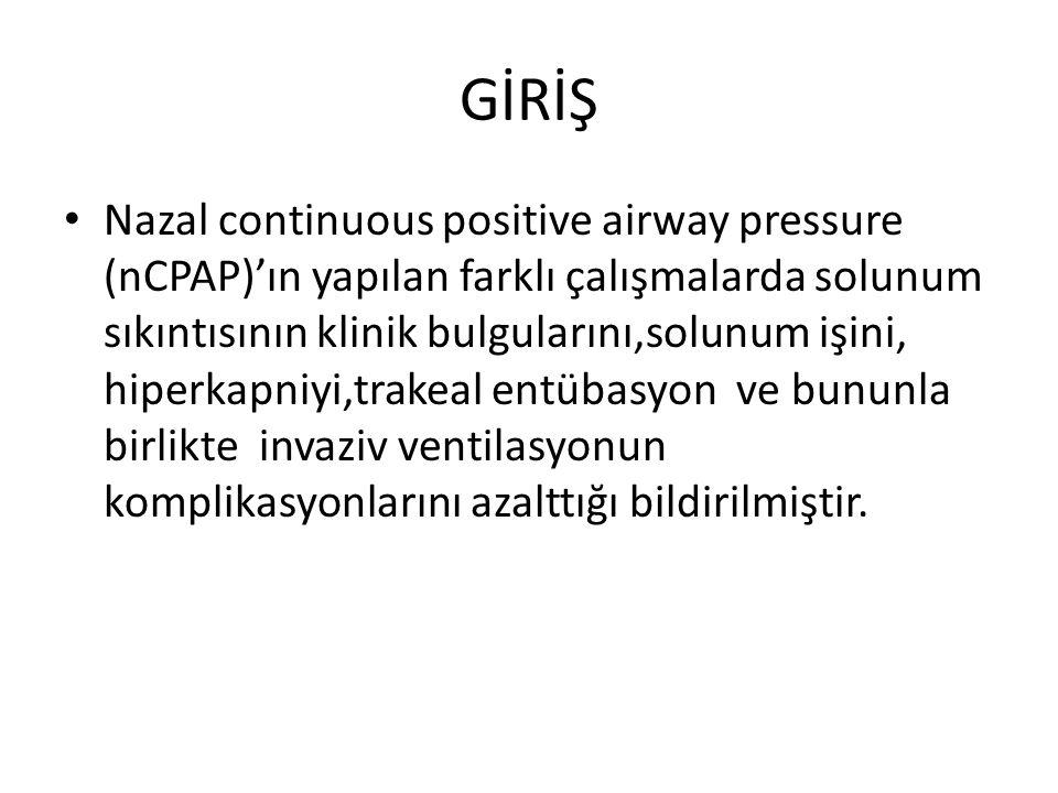 GİRİŞ Nazal continuous positive airway pressure (nCPAP)'ın yapılan farklı çalışmalarda solunum sıkıntısının klinik bulgularını,solunum işini, hiperkap