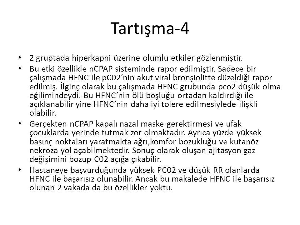 Tartışma-4 2 gruptada hiperkapni üzerine olumlu etkiler gözlenmiştir. Bu etki özellikle nCPAP sisteminde rapor edilmiştir. Sadece bir çalışmada HFNC i