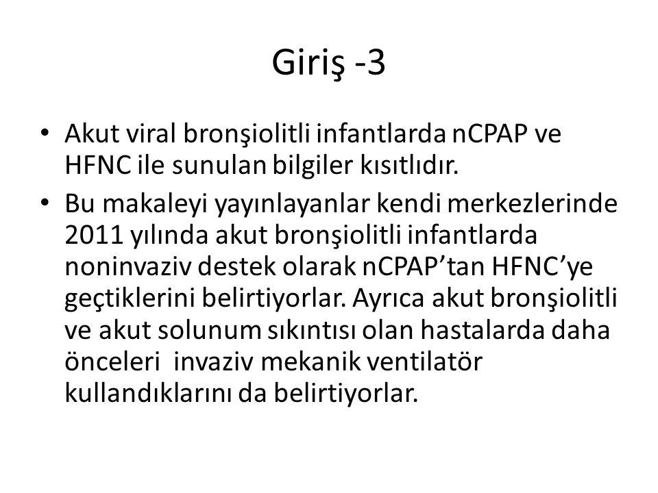 Giriş -3 Akut viral bronşiolitli infantlarda nCPAP ve HFNC ile sunulan bilgiler kısıtlıdır. Bu makaleyi yayınlayanlar kendi merkezlerinde 2011 yılında