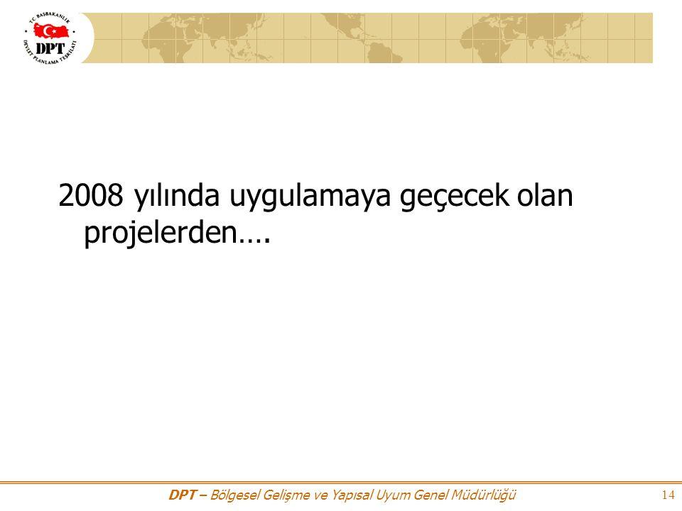 2008 yılında uygulamaya geçecek olan projelerden….
